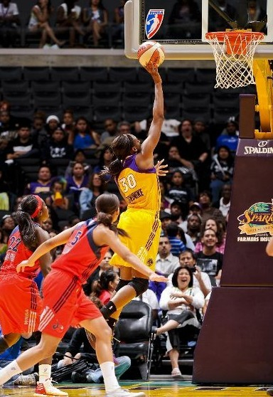 LOS ANGELES, CA - JUNE 18: Nneka Ogwumike #30 of the Los Angeles Sparks goes to the basket against the Washington Mystics at the Staples Center on June 18, 2012 in Los Angeles, California.  (Photo by Juan Ocampo/NBAE via Getty Images)