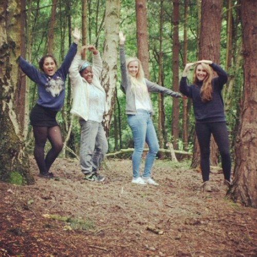 YOLO BITCHEZ #whyarewesocool #noseriouslypleasetellme #yolo #girls #woods #forest #nature #style #blonde #brunette #friends #happy (Taken with Instagram)