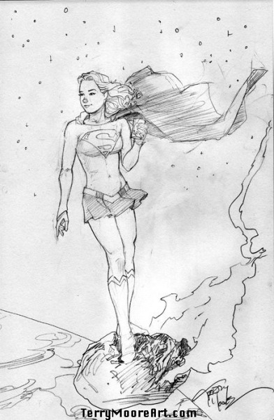 Quick sketch of Supergirl surfing a meteor and drinking a coke. Teenagers.