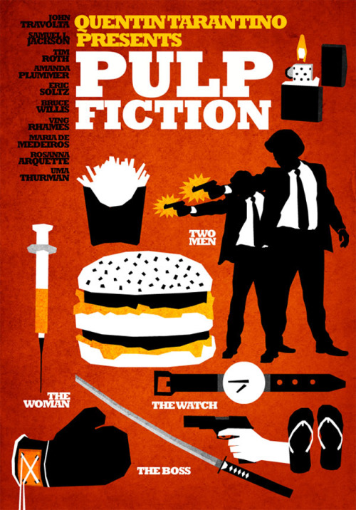 A new take on the Pulp Fiction movie poster from @larbremarius (via Hexagonall - 'Tarantino Posters' | L'Arbre Marius)