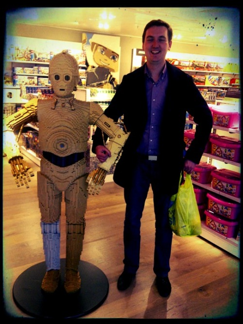 20 June 2012 Dave discovering the life size lego C3PO in John Lewis toy department. Can we take him home?