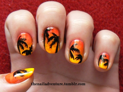 thenailadventure:  Tropical Sunset inspired by the robin moses