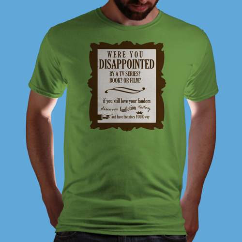 "qwertee:  ""Discover Fanfiction Today"" is today's tee on www.Qwertee.com Get this great design now for the super price of £8/€10/$12 for 24 hours only. Be sure to ""Like"" this for 1 chance at a FREE TEE this weekend, ""Reblog"" it for 2 chances and ""Follow"" us for a 3rd chance (if you're not already:) Thanks Guys!"