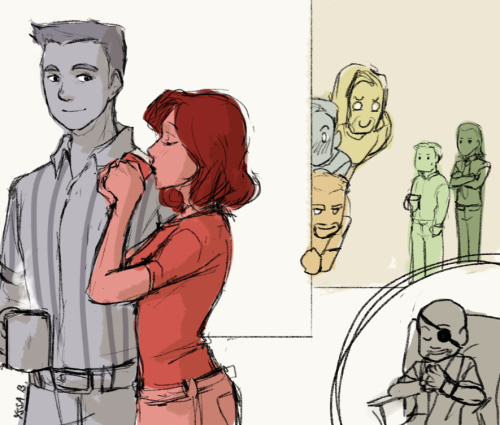 Day 46 | 120 Ships  Clint Barton/Natasha Romanoff (HighSchoolTeacher!Avengers)[ based on this ] All the teachers made bets on when Clint was going to make a move on Natasha. What they didn't know was that Nick Fury joined the bet, and that he was guaranteed to win. He will, after all, carefully manipulate it so that he does win. Principal Nick Fury, motherfuc—