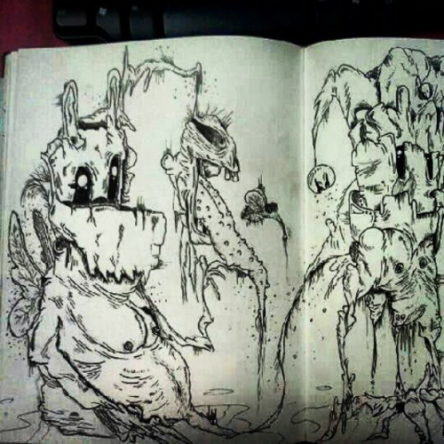 #old #friend #sketchbook #creepy #fly #death #demon #scary #monster #gross  (Taken with Instagram)