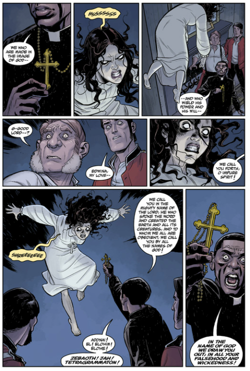 Pages from B.P.R.D.: Hell On Earth: Exorcism #1, written and drawn by me, colours by Dave Stewart. In stores Jun 27, 2012.