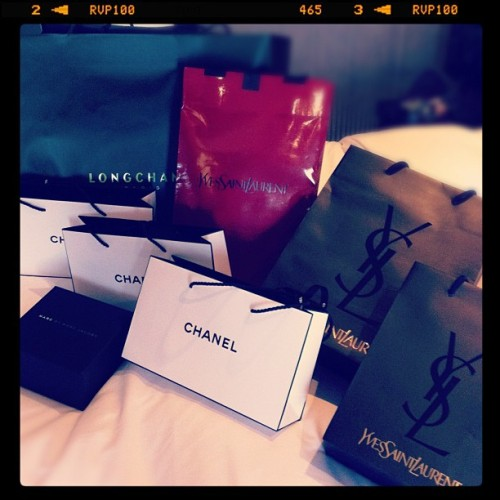 Thoroughly enjoying unpacking! #shopping #Ysl #Chanel #longchamp #marcjacobs #designer #bags #instagram  (Taken with Instagram)