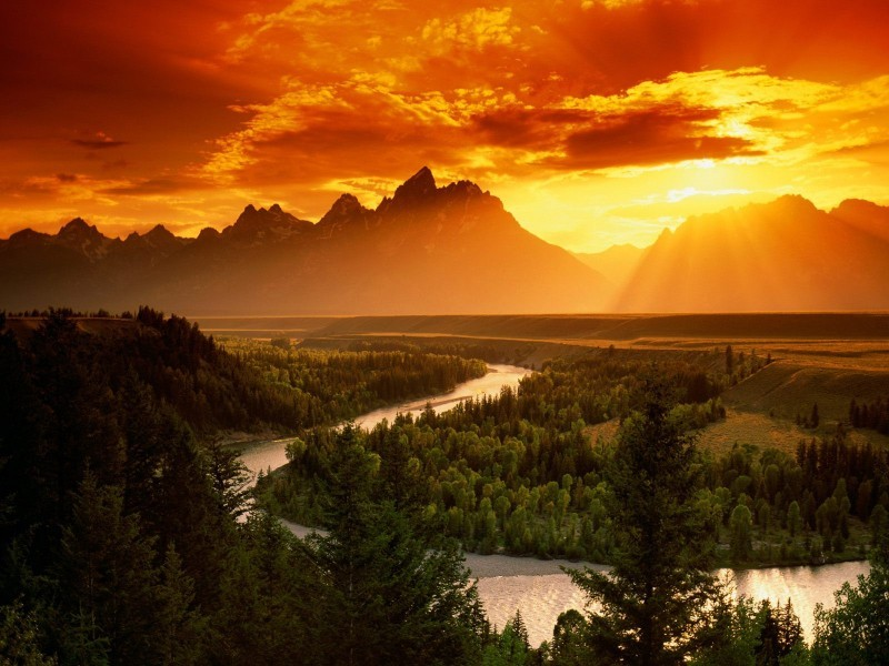 Snake River, Grand Teton National Park Sunset @ Wyoming, USA