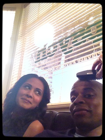 psychicreflux:  Dulé Hill: You see @ParminderNagra in the #Psych Office looking at me looking at you looking at me getting my hair brushed.