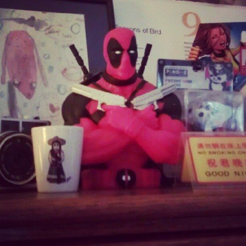 Deadpool watching over me. (Taken with Instagram)