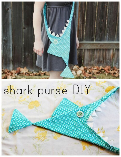 DIY Shark Purse Tutorial by Kara of I Just Might Expolode for A Beautiful Mess here. Because I liked sharks when I was little girl (and bats) and still do.