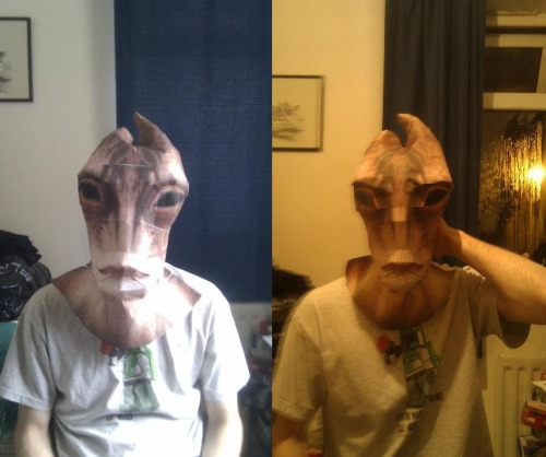 Built another Mordin mask base this evening. Much happier with the size :)Two life sized pepakura heads in one evening, kinda crazy XD