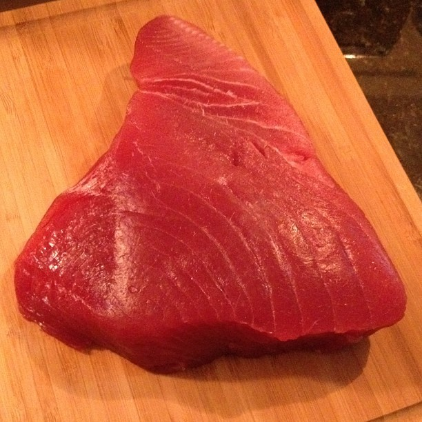 Tuna soon to become dinner. #fish #tuna #instamood #instafood #instagood #tweegram  (Taken with Instagram at Roxbury Falls)