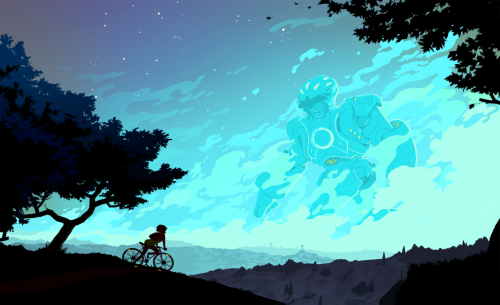 "A hypothetical story about a girl who rides a fixed-gear bike, who gets mixed up with a giant robot. I was thinking about what it would be like to see something monumental from a far distance in the dark, the line between a hallucination and objects obscured by atmospheric perspective. I am a big fan of The Iron Giant and FLCL, and ""bike porn""—sexy pictures of sweet custom bikes, sexy girl optional."