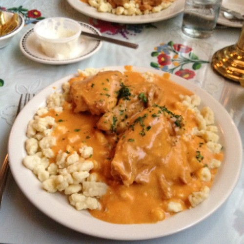 recipesandrunways:  Taken with Instagram Hungarian Chicken Paprikash with Dumplings (spaetzle) at Hungarian Rhapsody