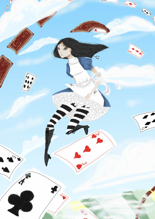 landofshame:  I love American Mcgee's Alice to bits and I wanted to draw something other than Bleach doodles for a change. By the way if you haven't played either the original American Mcgee's Alice or the sequel, Madness Returns, you really should. They are gorgeous games. Or at least watch a Lets Play, you know. Anywho, favorite level of Madness Returns. X