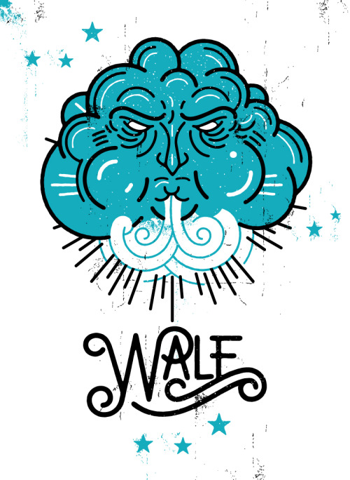 His name's Wale, you might know him from the raps?   Working on some illustrations and type for a poster series promoting some secret (shhhh) shows.