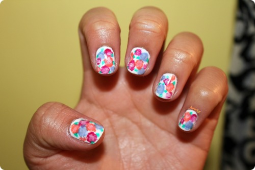 junecharlene:  ‎062112 Spring WatercolorI love the contrast of my nails and the weather outside (dark with heavy rains). Definitely lifted the mood :) Inspiration: thebeautydepartment.com