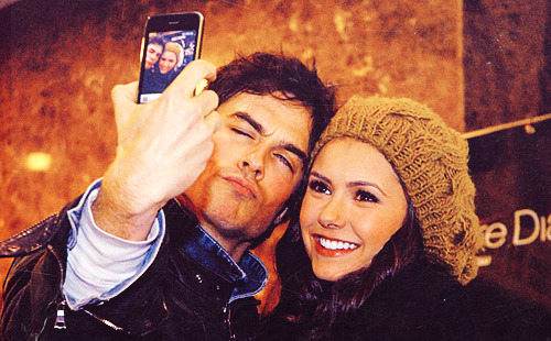 rebellious-heart:  Ian taking pictures of himself and Nina from his phone.