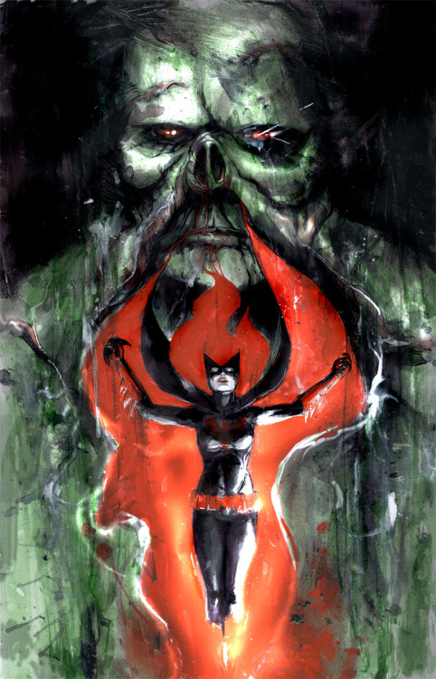 xombiedirge:  Batwoman & Swamp Thing by Riley Rossmo Donated to the fourth Annual San Diego Comic-Con Autograph Card CBLDF/TFAW Auction.