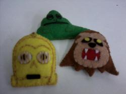 Star Wars pins (Jabba the Hutt, C3PO, Chewbacca) by Sandy for Felt Much?