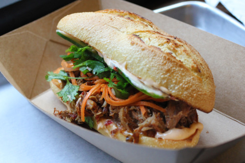 Pulled Duroc pork sandwich with spiced honey. Num Pang. Greenwich Village.