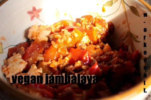 ive always wanted to try jambalaya, but obvs its alot harder when youre vegan. this is a great, SPICY recipe that will make you sweat ;D 1 cup ground vegan crumbles ( i always use boca) 1/2 cup onion, chopped 1 bell pepper, any color, chopped 2 tomatoes (or two cups), chopped 2 cloves garlic, chopped 3 celery stalks, chopped t tsp oregano 1/8 tsp garlic powder 1 tsp paprika 1/2 tsp pepper 1 tsp cayenne pepper 1 tbls new orleans/creole seasoning 1 cup veggie broth 8 oz tofu, pressed and cut into cubes 1/2 cup uncooked rice  1. chop all the veggies and add them to the slow cooker, as well as the seasonings. 2. set on low for 4 hours. 3. add the rice and cubed tofu, then turn on high for half an hour.