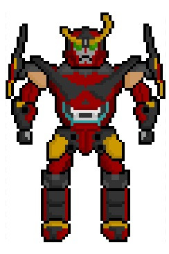 "Gurren Lagann, the super-powerful titular mecha from the ""Tengen Toppa Gurren Lagann"" anime series, now rendered in a rather big but still rather small 59 x 85 pixel resolution.  Requested by:http://aforextreme.tumblr.com/"
