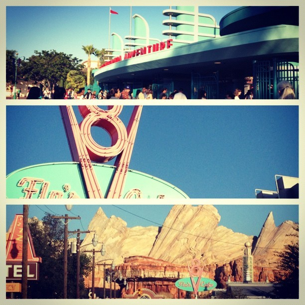 California Adventures, Cars Land!!😄🚙🚗🚕🏁✌ #disney #californiaadventures #cars #fun #2012 #summer #goodvibes #legit (Taken with Instagram)