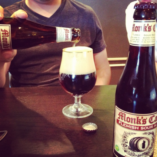 Sampled the Monks Cafe Flemish Sour with my co workers today. We have a weekly beer review podcast where it will air tomorrow. I've never had a sour ale before. It had a very unique taste that I definitely want to try again. Strong mouthfeel with a refreshing aftertaste. Packed with flavor of sour apples. It comes off fruity and finishes smooth.