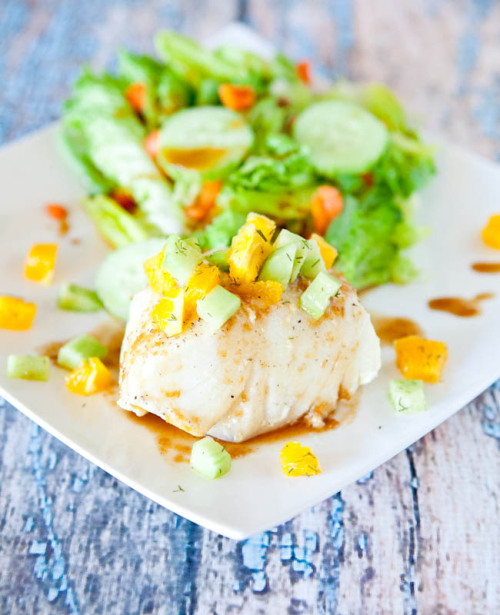 yummyinmytumbly:  Orange Glazed Chilean Sea Bass with Dill Cucumber & Orange Champagne Relish