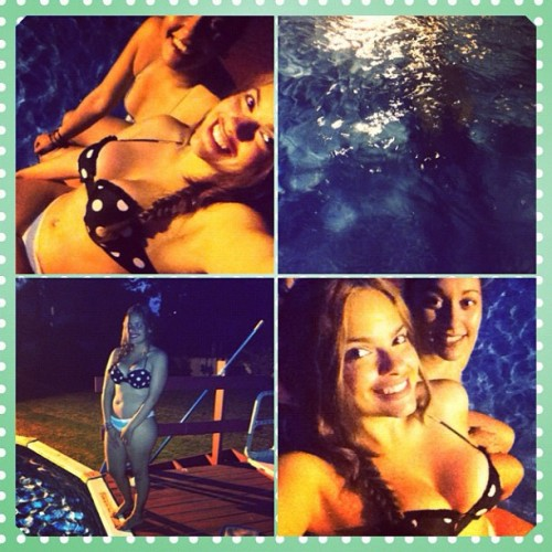 Late night swim with @suly_lopez 🏊👯🌜🍷💚💘💙#doubles #latenightswim #pool #friends #summernights #pokadots #reflection #mermaid #instagood  (Taken with Instagram)