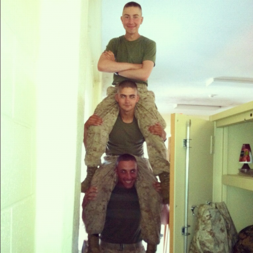 """We couldn't find a ladder to clean the lights… We're Marines, we improvise""  Oh, the pictures Jimmy sends me from SOI. ;)"