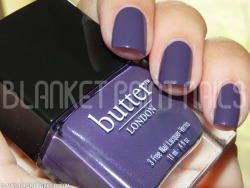 Color: Marrow (Butter London)Retail Price: $14.00 (USD) This shade is from Butter London's fall 2010 collection. It is a bruised purple creme with silver shimmer throughout. I think it looks stunning in the bottle and on my nails, although it should be noted that Marrow dries much darker on nails than it appears in the bottle (which is fine with me, in this case). Another slight issue is that the shimmer is verrry subtly visible on the nail (while it's very apparent in the bottle), but despite that fact, Marrow manages to twinkle quite nicely when the sun hits it just right. The formula for this shade is great to work with, which makes application easy. Marrow is very pigmented, and is almost a one-coater; however, I needed two coats to achieve full opacity. Overall, I really like this color because I don't own anything else like it. Still, it's important for you to know that it looks slightly darker on nails than it does in the bottle, which may potentially be a problem for some people. The best thing about Marrow is that even though it's from a fall collection, the shimmer makes it perfect for spring and summer as well!