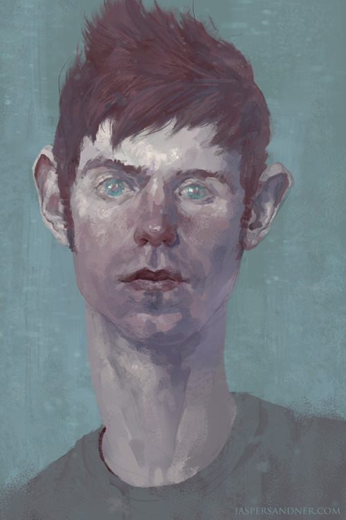 eatsleepdraw:  Self-Portrait, painted from life in photoshop. Trying to use values and colors as a compositional device in a portrait setting. Tumblr|Twitter