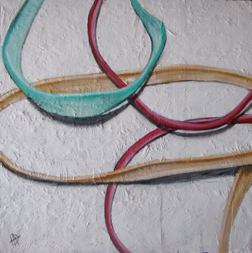 "Rubber band painting called Ammunition, 24""x24"", acrylic on wood, 2011, by Douglas Alvarez."