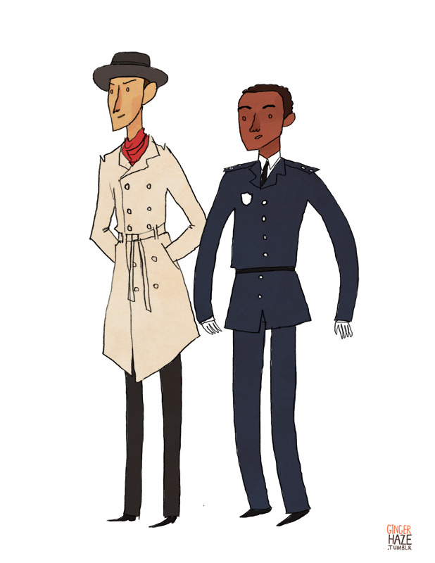 gingerhaze:  A commission for lucillebruise, who asked for Abed and Troy as Inspector Spacetime and Reggie! Done and done.