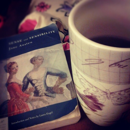 laavie-enrose:  Perfect night. Jane Austen and a cup of tea. #senseandsensibilty #tazo #tea (Taken with Instagram)