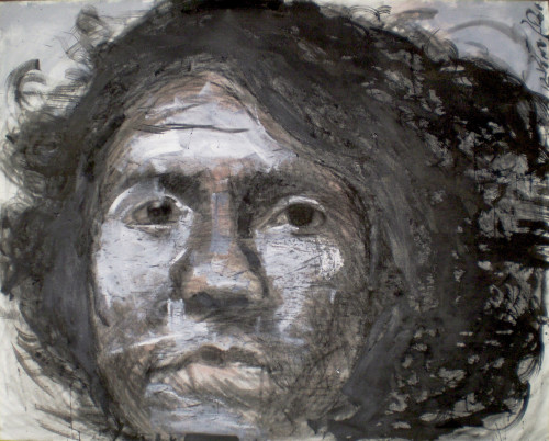"Olga Charcoal, Ink, Acrylic / Canvas 48"" x 60"" 2012"