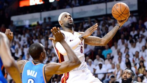 Miami Heat win NBA title, defeating Oklahoma City Thunder AP:The Miami Heat have won the 2012 NBA championship title, defeating the Oklahoma City Thunder 121-106 in Game 5 of the finals.  Photo: Miami's LeBron James drives to the basket against Oklahoma City's Serge Ibaka during Game 5 on Thursday (Ronald Martinez / Getty Images)