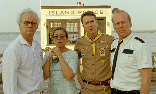 "greencardigan:  Bill Murray, Frances McDormand, Edward Norton, and Bruce Willis in ""Moonrise Kingdom"" (2012). Directed by Wes Anderson."