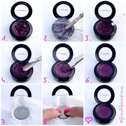 freshfacestace:  eyeshadow repair: repair kit 101, 91% rubbing alcohol, medicine dropper, palette knife/metal spatula, synthetic concealer brush, quarter, saran wrap & a tissue square 1.poor shadow :( 2.saran wrap broken shadow to contain the powder & use a palette knife or spatula to break remainder of the larger pieces for consistency 3.use a medicine dropper and add enough alcohol to create a paste like consistency 4.use spatula to smooth it over 5.use the brush dipped in a bit of alcohol to smooth edges even more 6.use blow dryer till alcohol evaporates 7.place quarter on shadow 8.press down on quarter firmly to compact shadow… and that's how you put money in the bank.  Good to know!