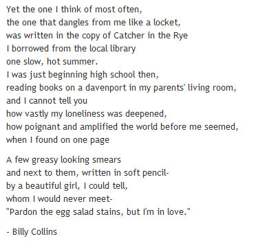 I love this poem, particularly the ending.