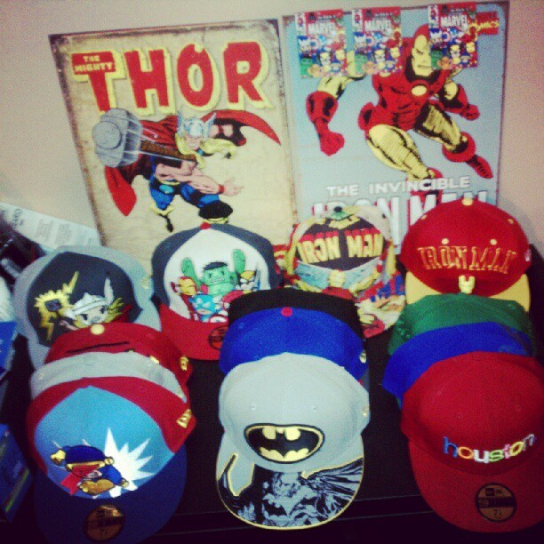 Got bored so I decided to rearrange my collection; get my mind off things. #tokidoki #marvel #fitted #59Fifty #snapbacks #avengers #Batman #Houston #superman #ironman #thor #cyclops #fashion (Taken with Instagram)