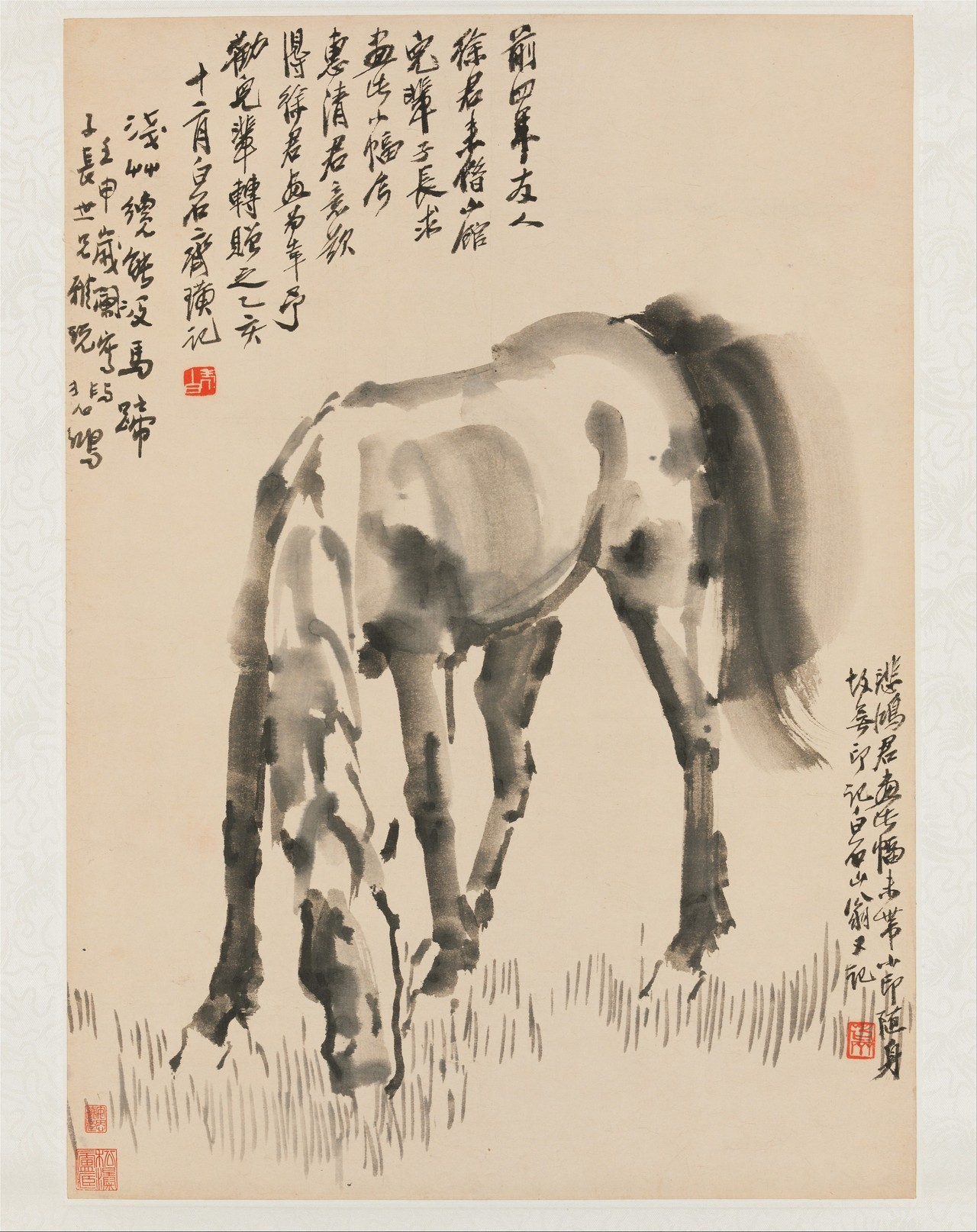 Xu Beihong - Grazing Horse, 1932. Hanging scroll: Ink on bark paper