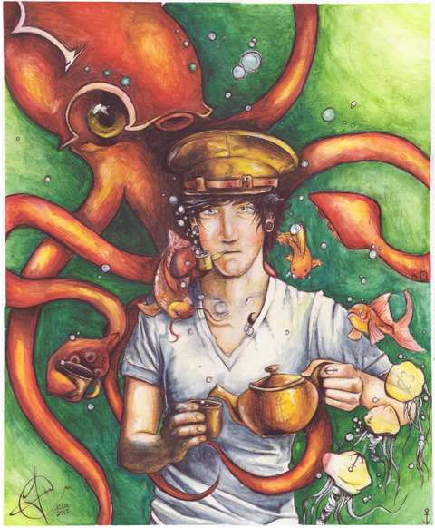 Tea with Kraken by *AnguianoArt