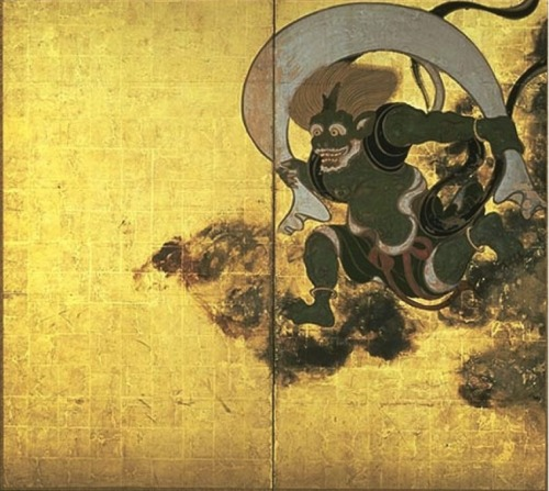 Fujin (風神) Fujin is the Shinto kami of wind. He is generally depicted as a creature resembling an oni (鬼) with wild hair, and he carries the winds in a bag on his shoulders. Fujin is frequently seen with Raijin, the kami of lightning and thunder.