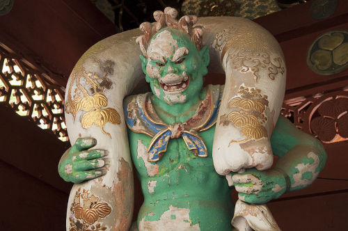A statue of Fujin at Taiyu-in in Nikko