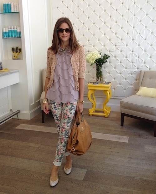 wearseesnap:  Feminine to the max. Olivia is wearing an Ann Taylor shirt, River Island jeans, French Sole shoes, a Givenchy bag and Ray Bans sunnies.