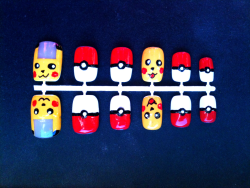 Pikachu and pokeball nails! Still for sale in my etsy shop, be the first with these adorable nails! www.sabbycakez.etsy.com